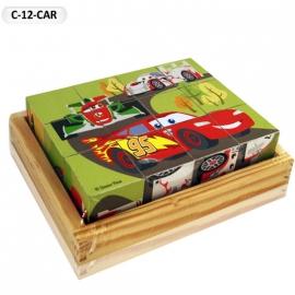"""Іграшка кубики дерев'яні """"Граємо разом"""" C-12-CAR Disney Тачки, 12 шт."""
