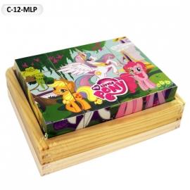 """Іграшка кубики дерев'яні """"Граємо разом"""" C-12-MLP My Little Pony,12 шт."""