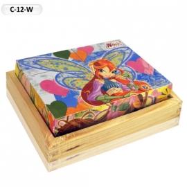 """Іграшка кубики дерев'яні """"Граємо разом"""" C-12-W Winx, 12 шт."""