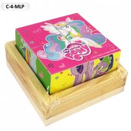 """Іграшка кубики дерев'яні """"Граємо разом"""" C-4-MLP My Little Pony,4 шт."""