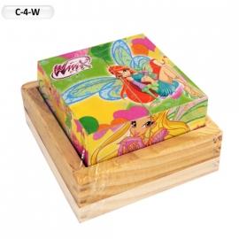 """Іграшка кубики дерев'яні """"Граємо разом"""" C-4-W Winx, 4 шт."""