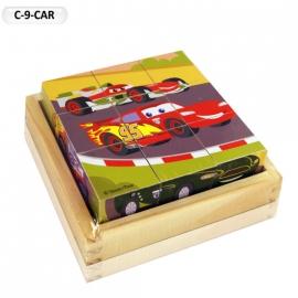 """Іграшка кубики дерев'яні """"Граємо разом"""" C-9-CAR Disney Тачки, 9 шт."""