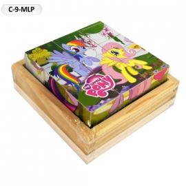 """Іграшка кубики дерев'яні """"Граємо разом"""" C-9-MLP My Little Pony,9 шт."""
