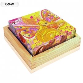 """Іграшка кубики дерев'яні """"Граємо разом"""" C-9-W Winx, 9 шт."""
