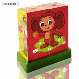 """Іграшка кубики дерев'яні """"Граємо разом"""" CP-2-CHEB Чебурашка"""