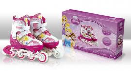 Ролики RS0106 M(35-38) Disney Princess.метал. рама, кліпса, шнурок, світло 1 колеса PU