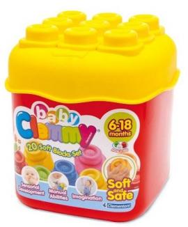 """Іграшка конструктор ТМ """"Clementoni"""" м'які кубики арт.14741 6-18 міс, ведро, 20 дет."""