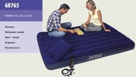 Ліжко велюр 68765 син.,із подушками - 2шт(43*28*9см),із руч.насосом - 68612,у кор. 152*203*22с