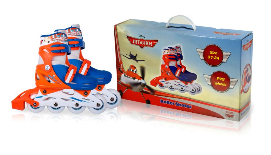 Ролики RS0114 р.30-33,Disney Planes.пласт.рама,кліпса,колеса PVC