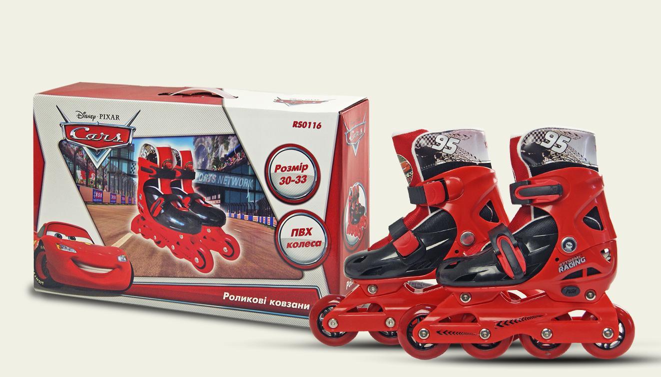 Ролики RS0116 р.30-33,Disney Сars.пласт.рама,кліпса,колеса PVC