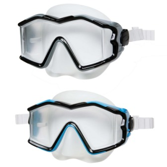 """Маска для плавання INTEX  арт.55982 """"Профі"""" гіпоалергенний  сілікон термопластик,2кольори(син.,чорн."""