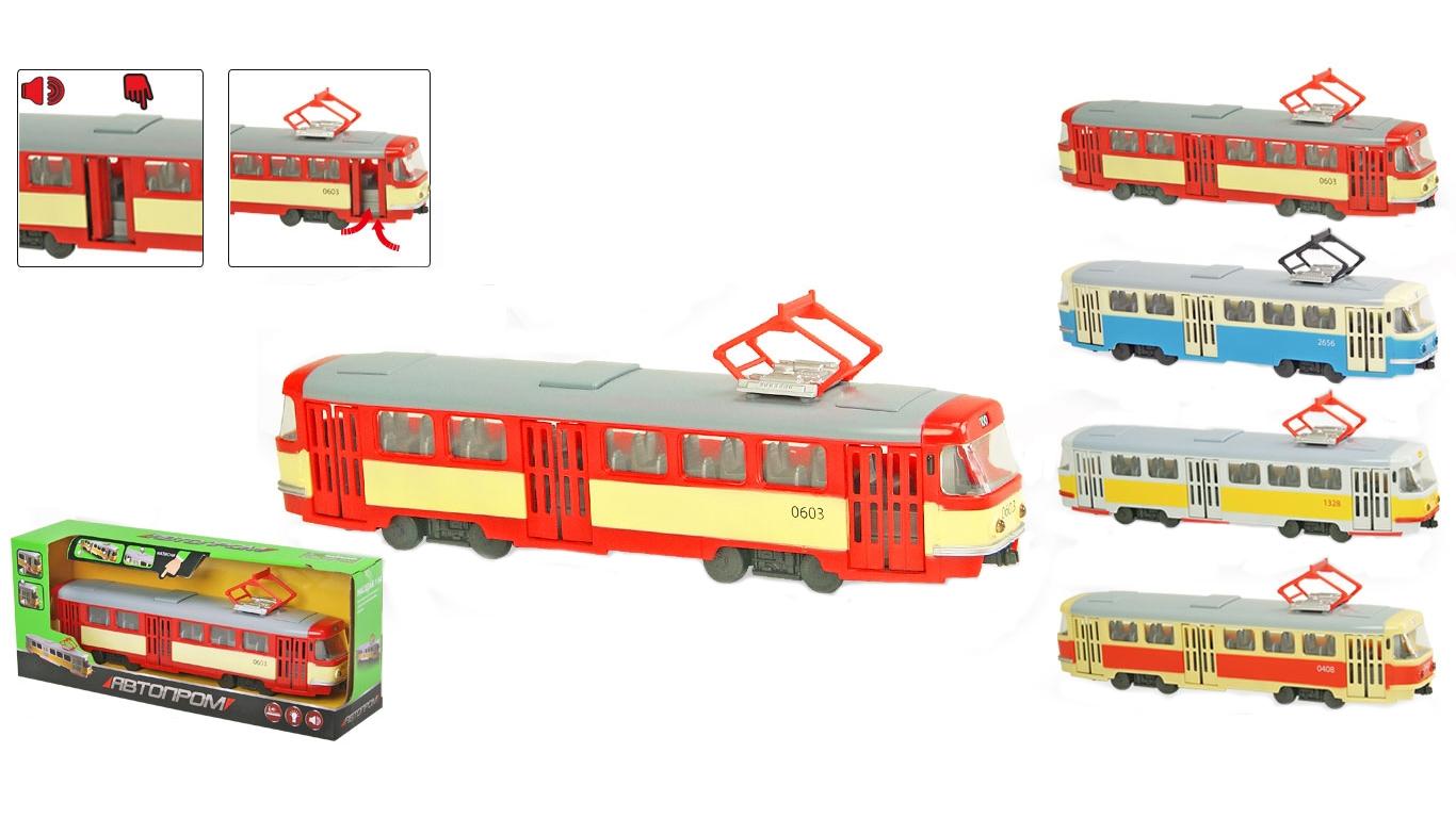 """Іграшка трамвай інерц. 9708ABCD """"АВТОПРОМ"""" батар.,світло,звук, в кор.31*8*11,4см"""