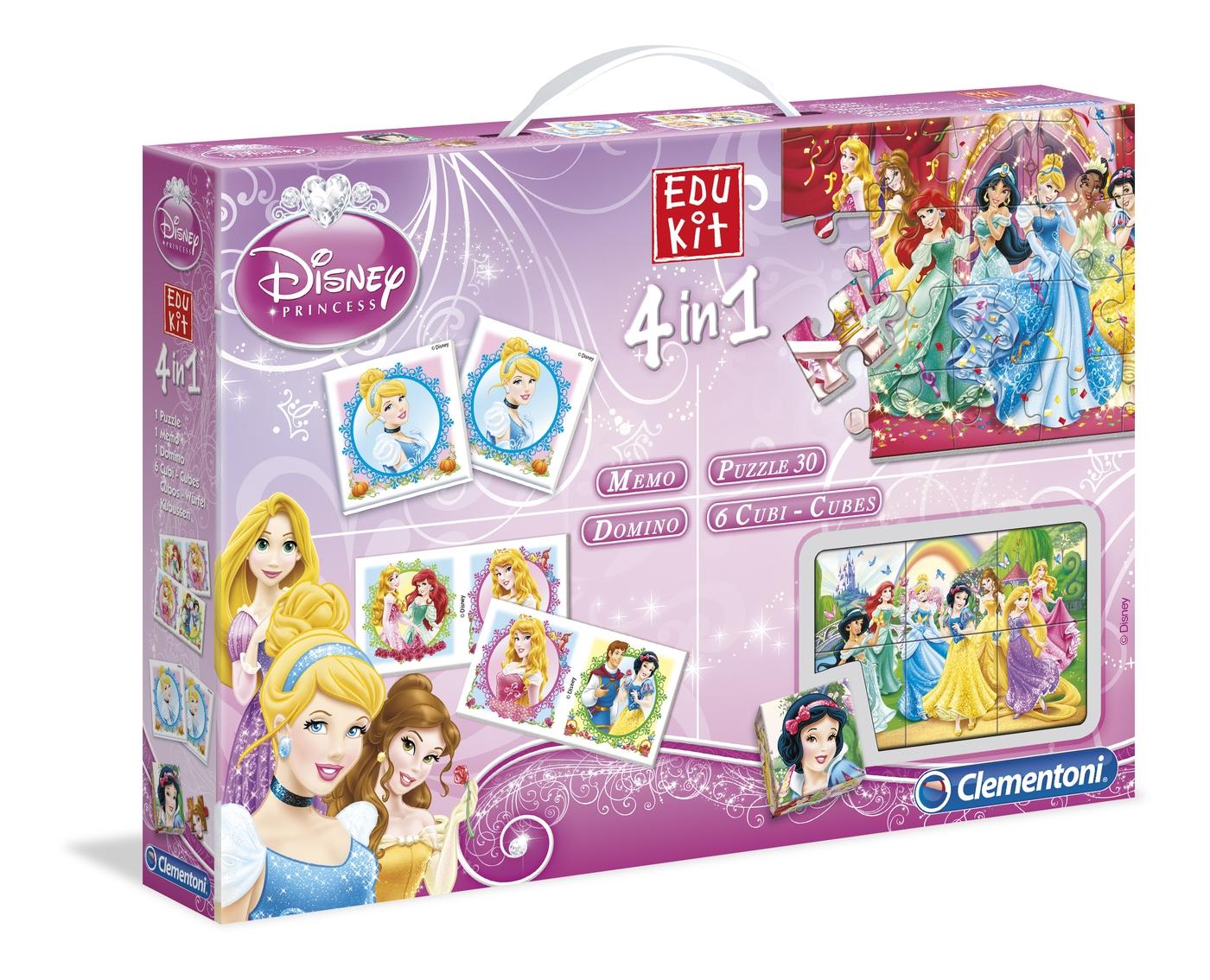 Набор 4в1 Сlementoni/Disney Princess арт.: 13775 (мемо, пазлы, домино, кубики)