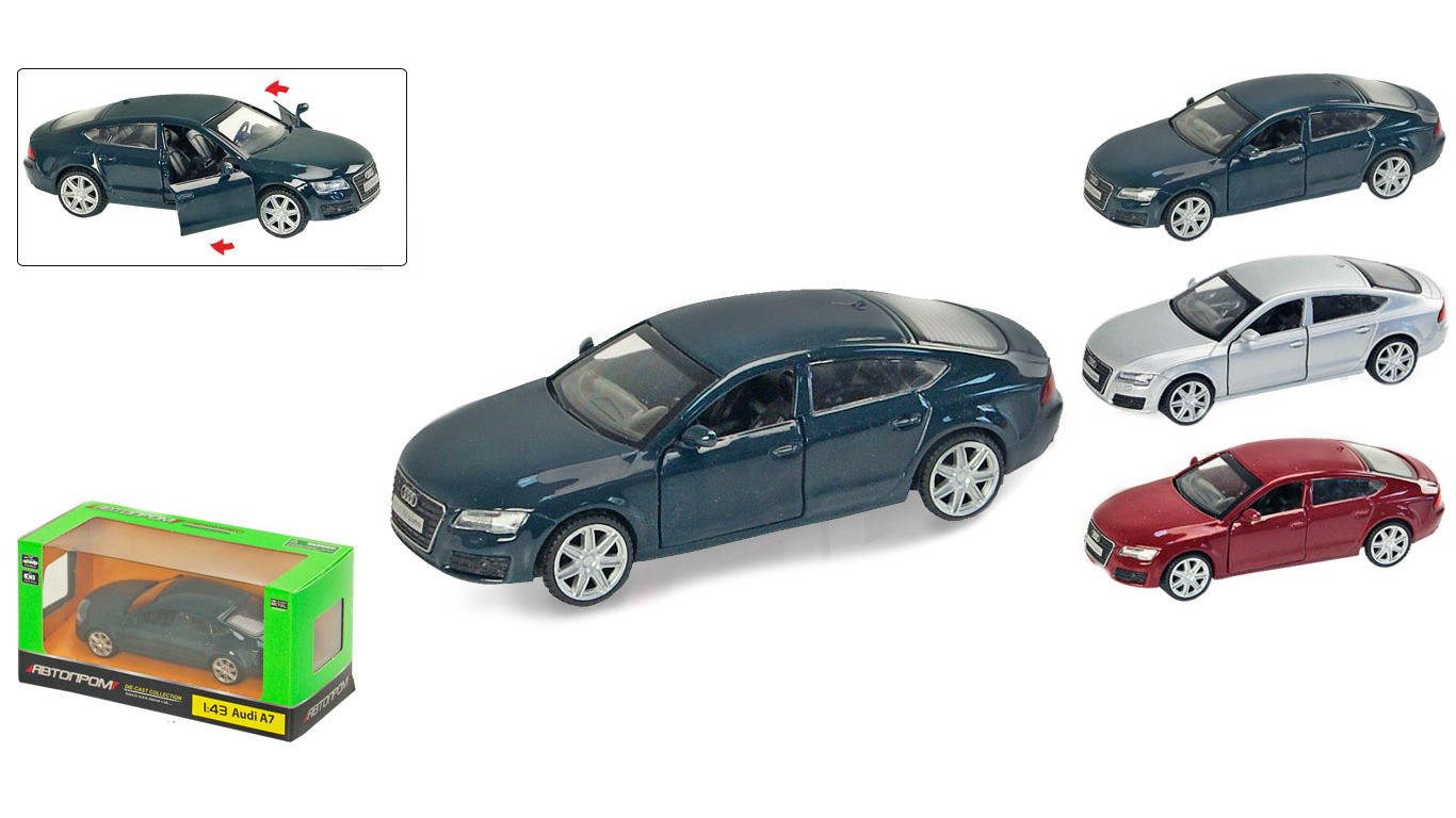 """Іграшка машина метал Audi A7 1:43 арт 67306  """"АВТОПРОМ"""",відкр дв ,в кор. 14,2*7,2*6,5см"""